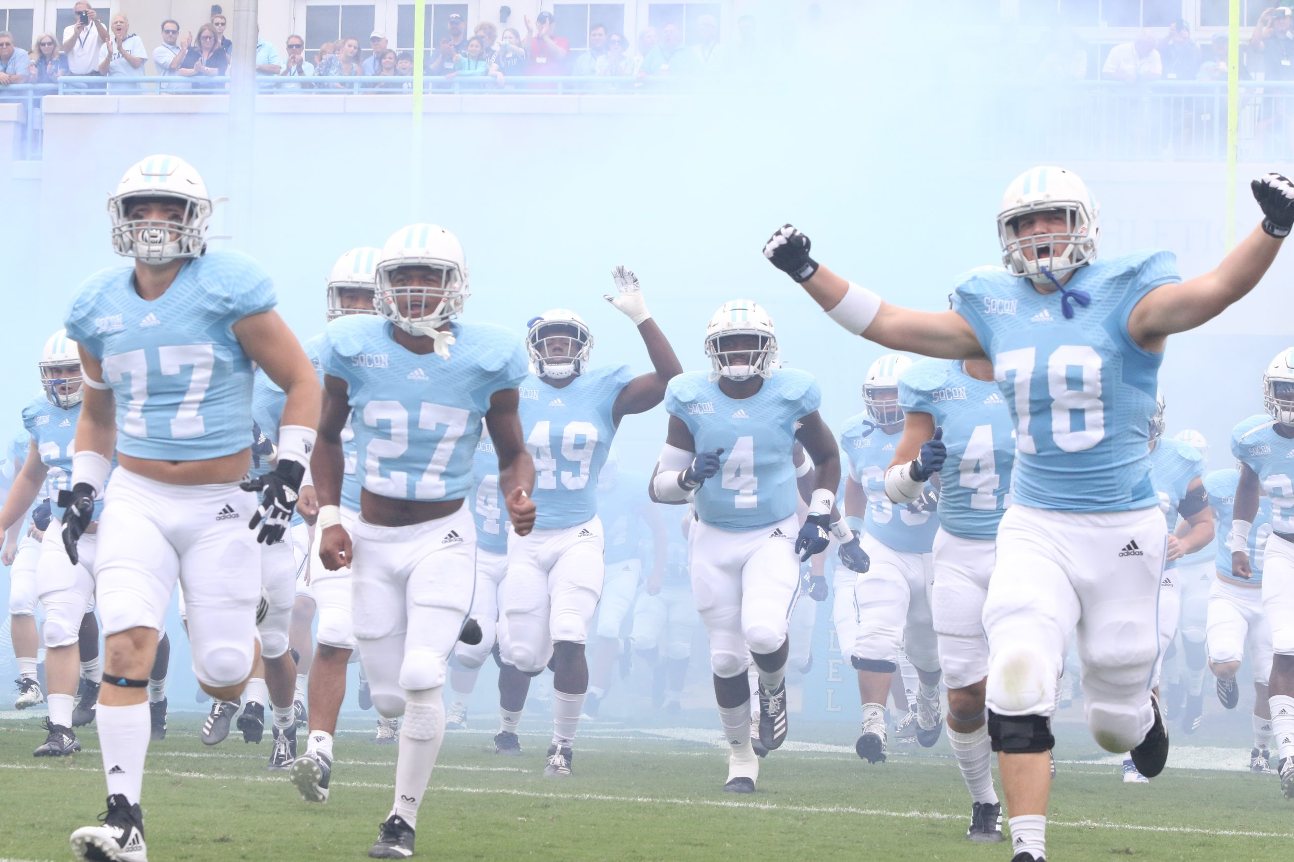 Citadel Brigadiers football team running out on field